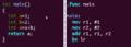 Vergleich Addition zweier Zahlen in C- und Assemblercode.png