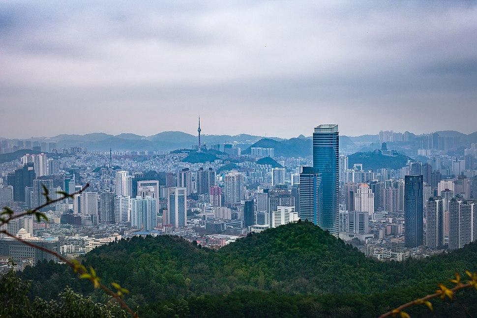 View of Guiyang, Guizhou from Neighboring Mountains