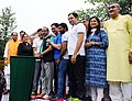 Vijay Goel alongwith the Minister of State for Power, Coal, New and Renewable Energy and Mines (Independent Charge), Shri Piyush Goyal flagging off the 9th Mega Slum Daud, Dr. Sahib Singh Verma Park, Kakrola Village, Delhi.jpg