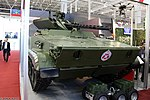 Vikhr reconnaissance-assault unmanned ground vehicle with ABM-BSM 30 weapon turret on BMP-3 chassis at Military-technical forum ARMY-2016 02.jpg