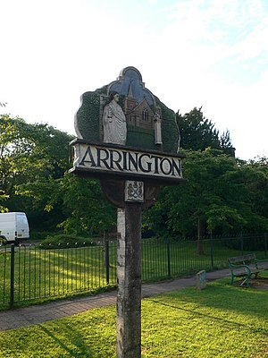 Arrington, Cambridgeshire - Image: Village sign, Arrington geograph.org.uk 987168