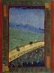 Bridge in the rain, after Hiroshige
