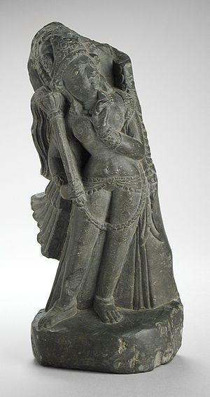 Kaumodaki - Kaumodaki as Gadadevi, personified as a woman.