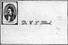 "[A reproduction of a visiting card from c. L. Blood. The card bears the text ""Dr. C. L. Blood"" in cursive script, and a captioned photograph of Blood in the upper left corner.]"