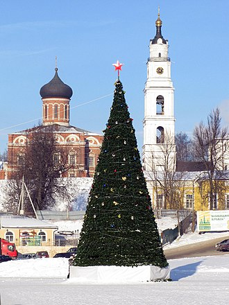 Red star - A New Year tree with a red star in front of a church cupola in Volokolamsk, Russia, 2010.