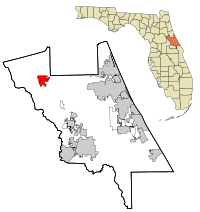 Volusia County Florida Incorporated and Unincorporated areas Pierson Highlighted.svg