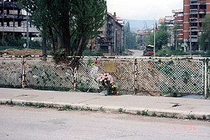 "Suada and Olga bridge - This is the original bridge where Sarajevo's ""Romeo and Juliet"" were killed by sniper fire. A memorial wreath can be seen at the railing.  It was later rebuilt and renamed the Suada and Olga bridge in their memory."