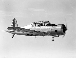 Vultee BT-13 Valiant - Vultee BC-3 prototype in flight