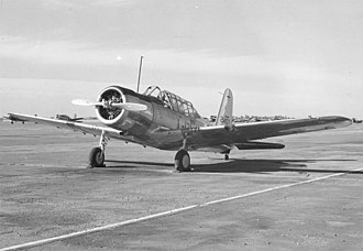 Vultee BT-13 Valiant - Vultee BT-13 on runway at Minter Field, California, 1 March 1943