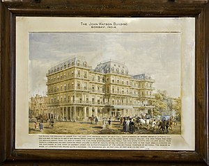 Watson's Hotel - WATSON'S ESPLANADE HOTEL IN MUMBAI (BOMBAY), as originally planned, painting at Watson Institute, in Castle Carrock, UK