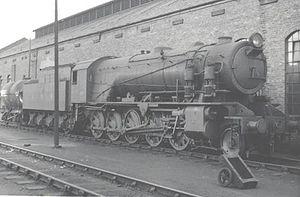 WD Austerity 2-10-0 - Image: WD 2 10 0 WD 601 Kitchener at Carlisle Kingmoor in 1958