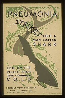 "A poster with a shark in the middle of it, which reads ""Pneumonia Strikes Like a Man Eating Shark Led by its Pilot Fish the Common Cold"""