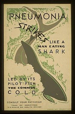 """En plakat med en haj i midten og teksten """"Lungebetændelse slår til som En mansslukande Haj Led af lodsfisken Forkølelse"""""""
