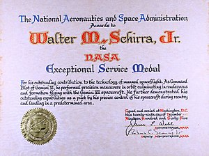 NASA Exceptional Service Medal - Certificate that accompanies the medal, given to Wally Schirra in 1964.