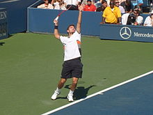 Wawrinka serves during his upset win versus Andy Murray at the 2010 US Open.