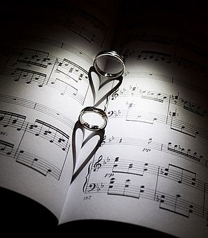 Wedding ring - Wedding ring of groom and a bride with shadow in form of heart -  symbolic sense of love