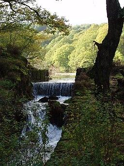 Weir on Llyn Mair, Tan y Bwlch - geograph.org.uk - 636895
