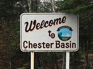 Chester Basin, Nova Scotia - Welcome to Chester Basin sign located on Hwy 12