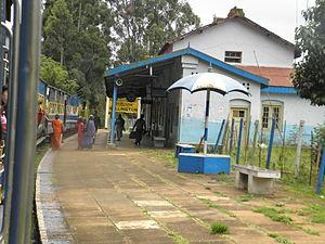 Wellington, Tamil Nadu - Mettupalayam-Ooty Mountain Train Hauled By Diesel Locomotive approaching Wellington Station