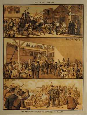 """Seattle riot of 1886 - An artist's interpretation of the riot, from West Shore Magazine, March 1886. The three panels are entitled, respectively """"Packing Up"""", """"On the Wharf"""", and """"The Collision""""."""