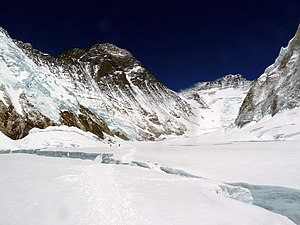 1953 British Mount Everest expedition - The Western Cwm, above the Khumbu Icefall. The Lhotse Face (centre right) was climbed trending left to the South Col (depression, centre), with the south-east ridge leading to Mount Everest's summit
