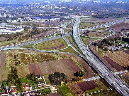 A1, A4 motorways and express road 44 junction near Gliwice Wezelsosnicafromthesky.JPG
