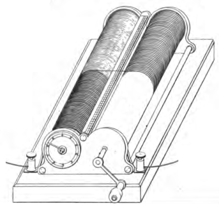 Charles Wheatstone's 1843 rheostat with a metal and a wooden cylinder Wheatstone Rheostat 1.png