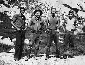 Norman Clyde - Photo of Jules Eichorn, Norman Clyde, Robert L. M. Underhill and Glen Dawson taken the day after the first ascent of the East Face of Mount Whitney