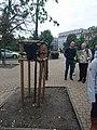 Wikimedia CEE delegates spotting weirdness of Warsaw.jpg