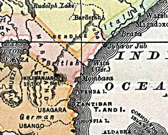 Wituland - Map showing the location of Witu on the Indian Ocean coast