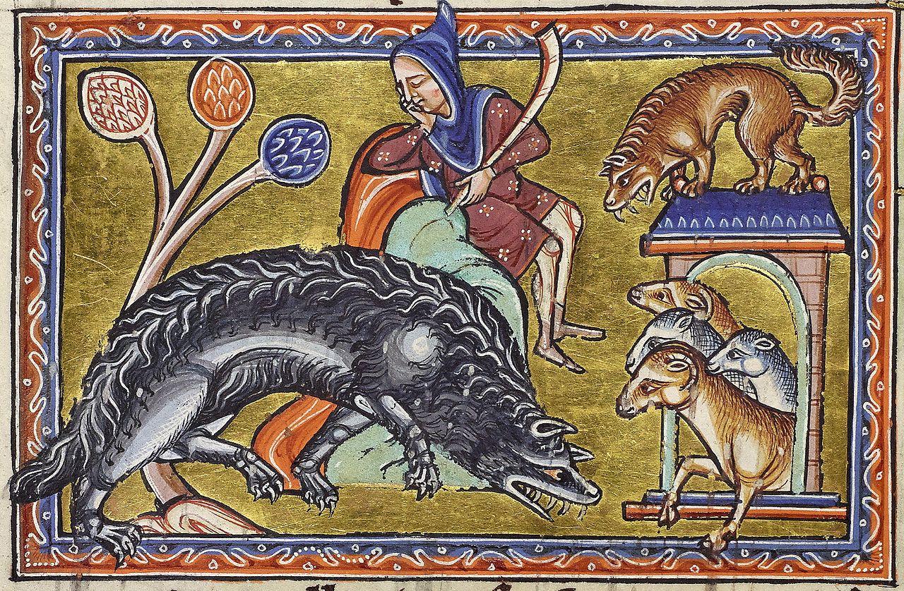 enluminure représentant deux loup attaquant une bergerie