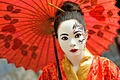 Woman wearing dramatic Japanese style make-up.jpg