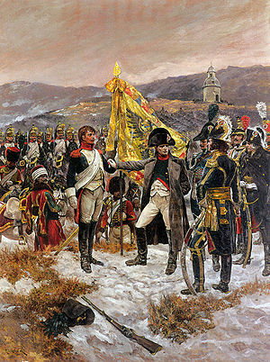 Military colours, standards and guidons - Napoleon I awarding the Legion d'Honneur to a dragoon for the capture of an Imperial regimental flag.