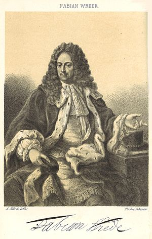 """Fabian Wrede, Count of Östanå - Count Fabian Wrede sporting the robe and hat of a Swedish senator (""""riksråd"""")."""