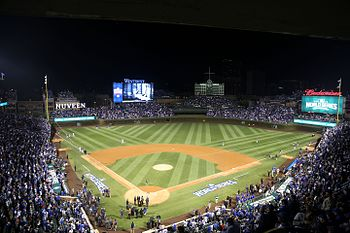 Wrigley Field is ready for World Series Game 3. (30525773952).jpg