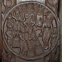 Yavamajhakiya Jataka - Medallion - 2nd Century BCE - Red Sand Stone - Bharhut Stupa Railing Pillar - Madhya Pradesh - Indian Museum - Kolkata 2012-11-16 1836 Cropped.JPG