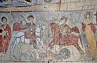 Theodore of Amasea - The Yılanlı Kilise fresco of saints Theodore and George slaying the dragon