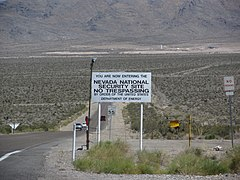 You Are Now Entering the Nevada National Security Site (No Trespassing), Near Mercury, Nevada (7425763364).jpg