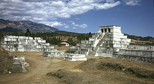 Zaculeu - Plaza 1 with Structure 6 at the left and Structure 1 at the right. The small platforms in the plaza are Structures 11 and 12.
