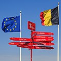 Zeebrugge Belgium Signpost-with-EU-Flag-and-Belgium-Flag-01.jpg