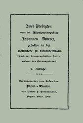 Zwei Predigten vom sel. Missionsinspektor Johannes Deinzer