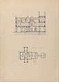 """Belmead"", James River, Virginia- Entrance façade and west-east section (recto); North-south section and upper floorplan (verso) MET DP314124.jpg"