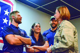 The Brave (TV series) - From left, cast members Mike Vogel, Natacha Karam and Noah Mills speak with 377th Air Base Wing Vice Commander Col. Dawn Nickell in 2017