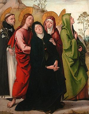 Juan de Borgoña - 'The Virgin, Saint Dominic de Guzman, Saint John the Evangelist', painting by Juan de Borgoña, c. 1515, the Louvre