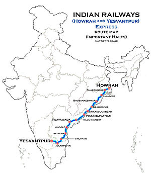 (Howrah - Yesvantpur) Express Route map.jpg