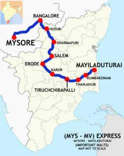 (Mysore - Mayiladuthurai) Express Route map.png