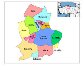 Districts de la province de Çorum