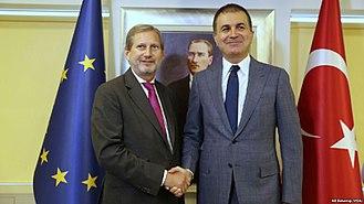 European Union–Turkey relations - European Commissioner Johannes Hahn with Turkey's EU Minister Ömer Çelik, July 2017