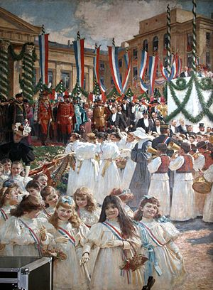 1895 visit of Emperor Franz Joseph to Zagreb - Painting by Vlaho Bukovac commemorating the visit