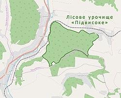 Лісове урочище «Підвисоке» на мапі